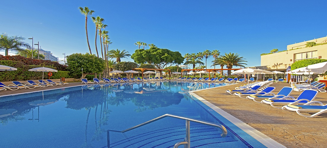 Pool area of Iberostar Bouganville Tenerife, a feature in our Valentine's Day in the sun