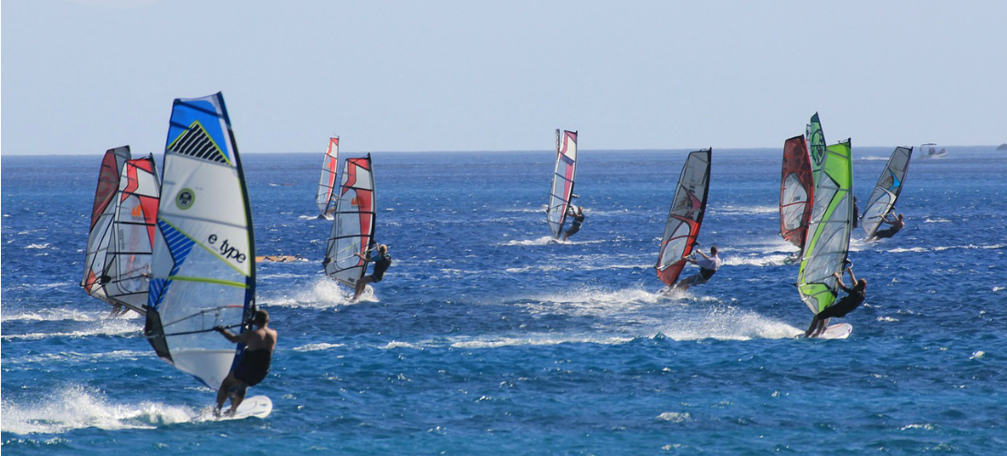 windsurfing water sports on the beach