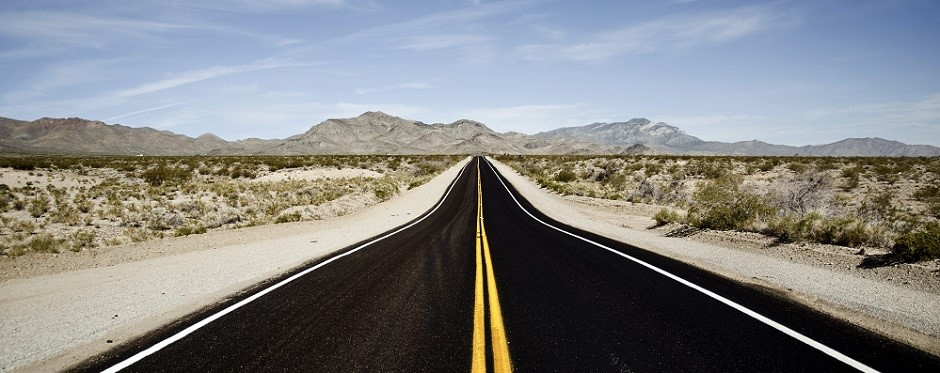 long road through desert USA