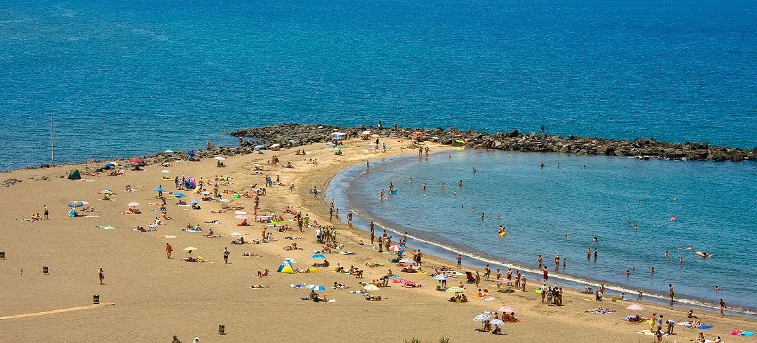 A beach stip in Playa De Las Americas