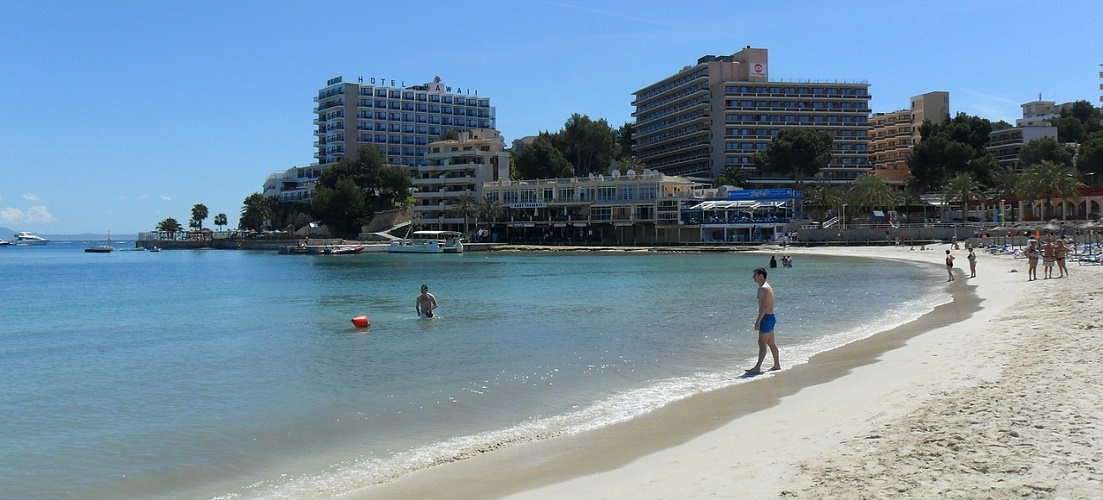 A popular beach in Majorca.