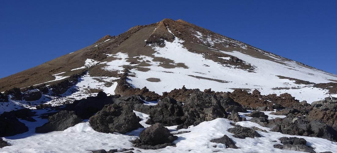 Snowy Mount Teide in Tenerife
