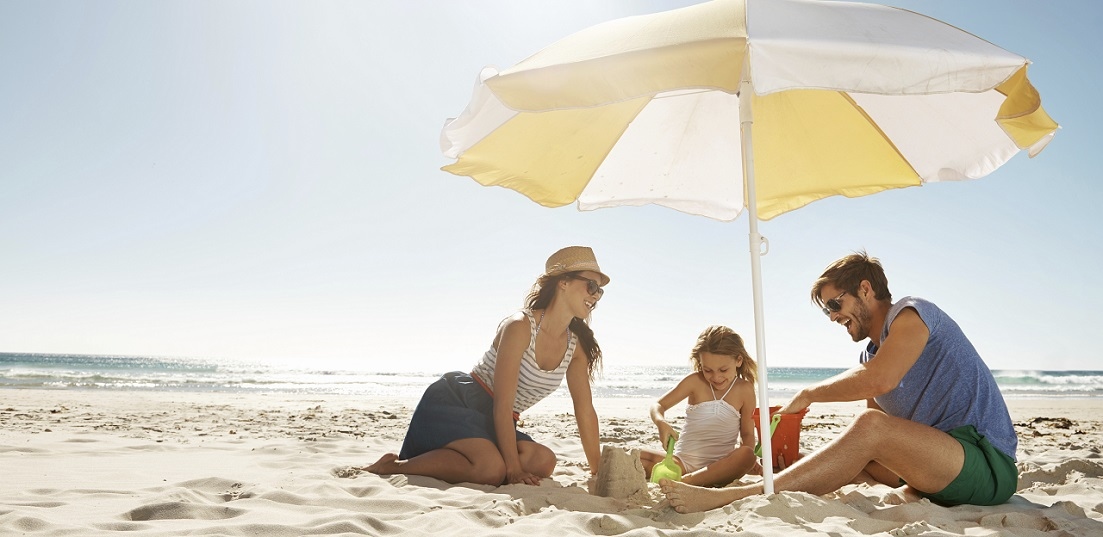 Shot of a happy , family holiday on the beach