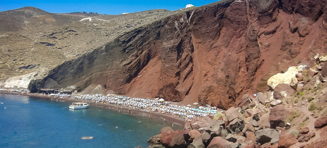 Red Beach in Santorini photo - greek island beaches