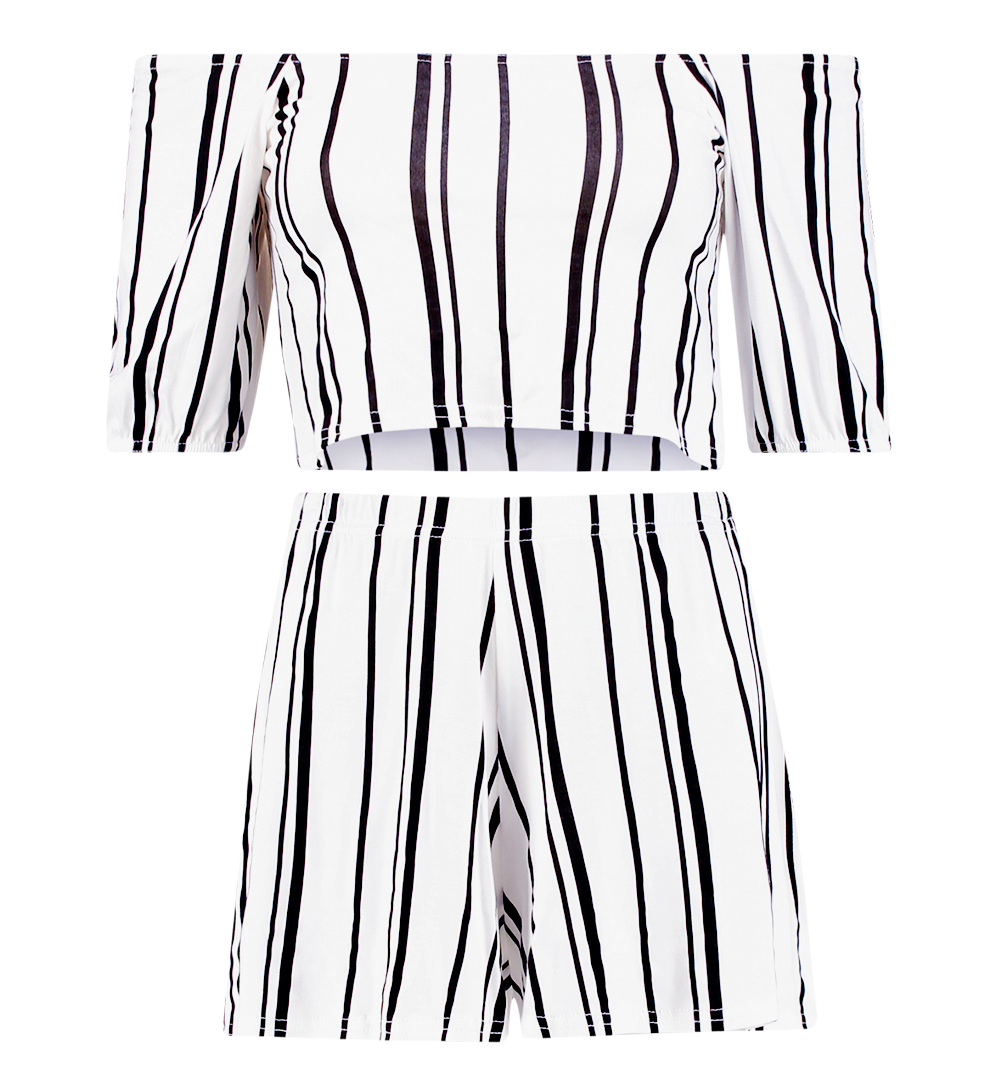 Holly stripe off-the-shoulder and short co-ord set