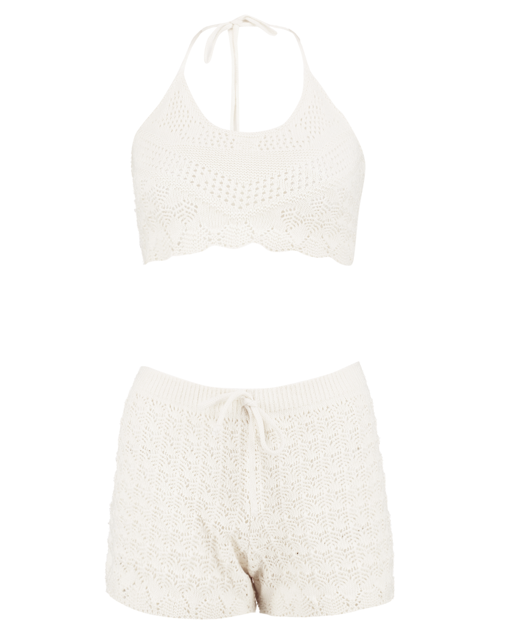 Evie halterneck crochet knit co-ord
