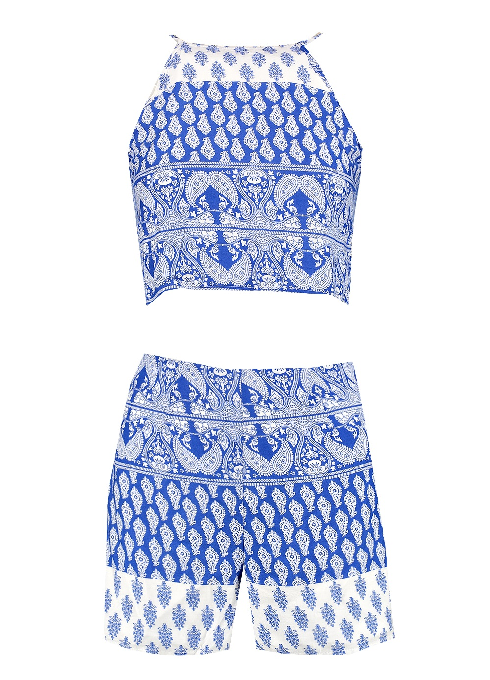 Polly blue paisley print shorts co-ord set