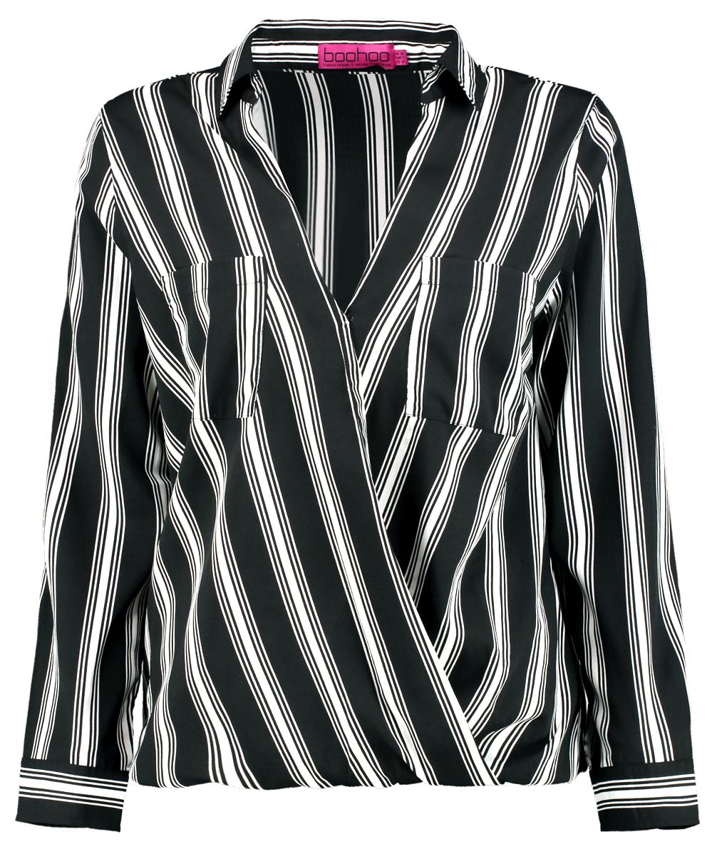 Grace woven stripe double pocket blouse
