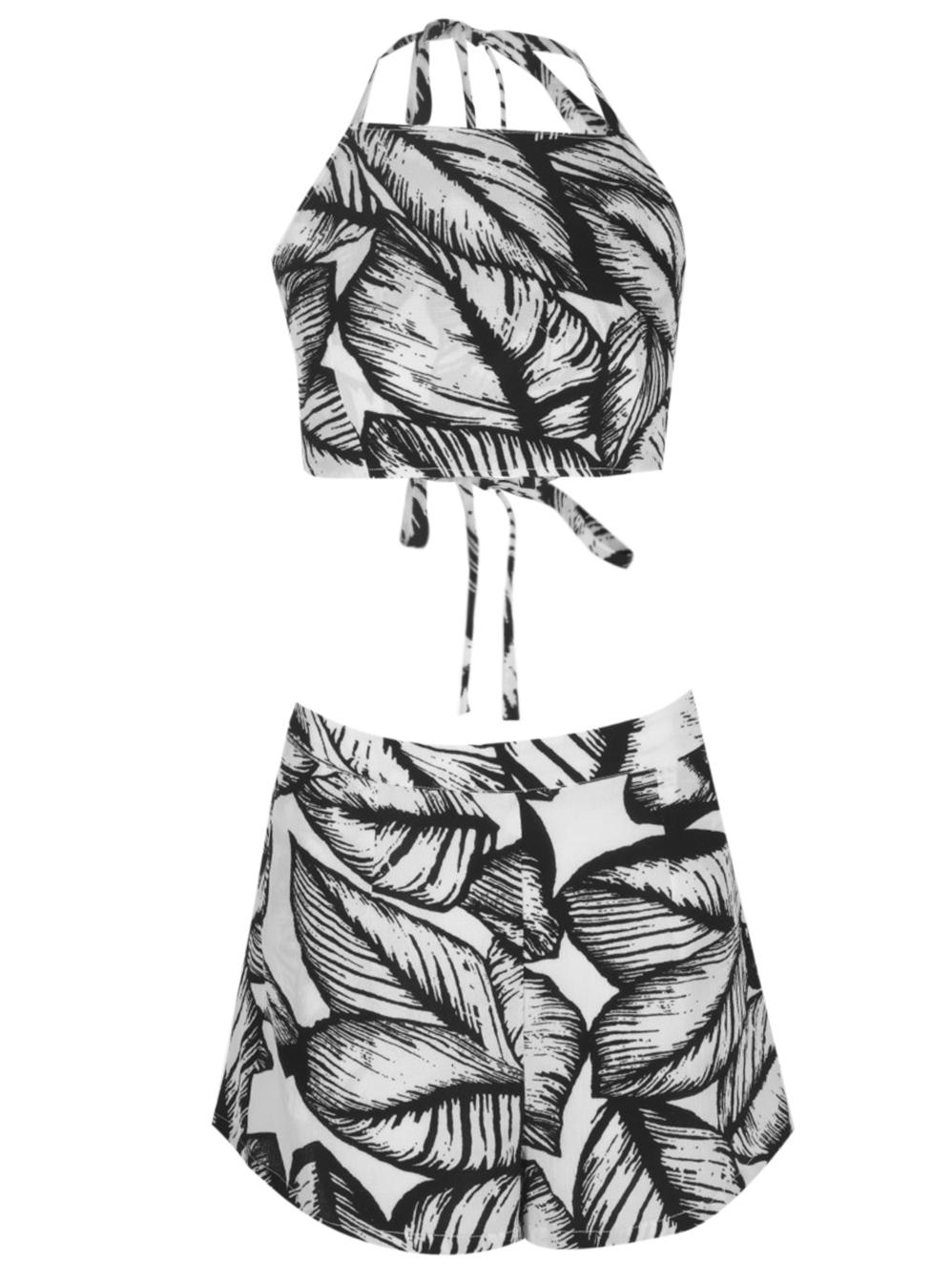 Jemmie leaf print top+shorts co-ordset