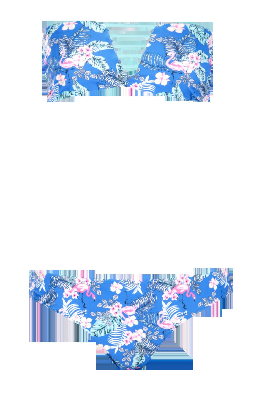 Nauru reversible bandeau flamingo bikini