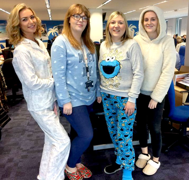 Girls n white and blue pyjamas