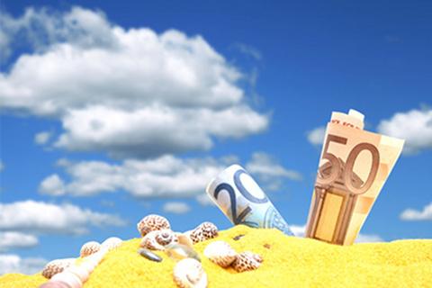 Travel money beach